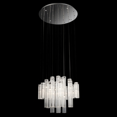 Modern Low Voltage Multi-Light Pendant Light with Clear Glass and 24-Lights
