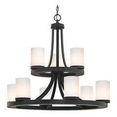 Bronze Chandelier with Gloss White Glass