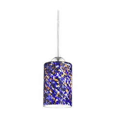 Design Classics Lighting Modern Mini-Pendant Light with Blue Glass 582-26 GL1009C