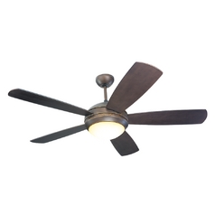 Modern Ceiling Fan with Light with Amber Glass in Roman Bronze / Graduated Amber Finish