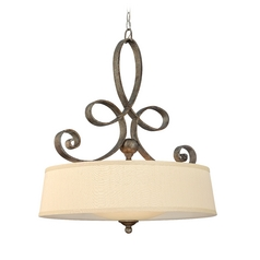 Drum Pendant Light with Gold Shade in Brushed Merlot Finish