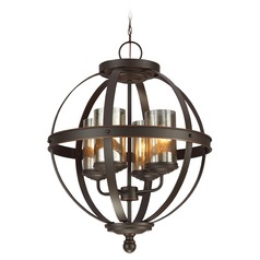 Mercury Glass Mini-Chandelier Bronze Sea Gull Lighting