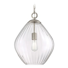 Savoy House Lighting Carnegie Satin Nickel Pendant Light with Bowl / Dome Shade