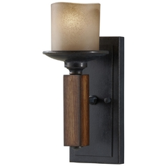 Sconce Wall Light in Antique Forged Iron / Aged Walnut Finish