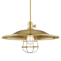 Heirloom Aged Brass Pendant Light with Bowl Shade