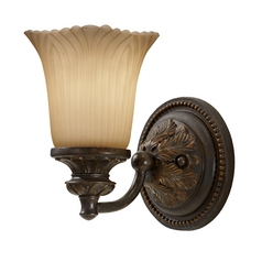 Sconce Wall Light with Beige / Cream Glass in Grecian Bronze Finish