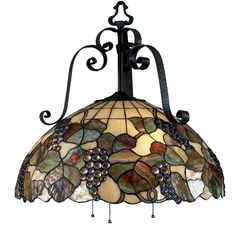Elk Lighting Pendant Light with Art Glass in Antique Iron Finish 785-AI