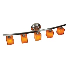 Modern Bathroom Light with Amber Glass in Matte Chrome Finish