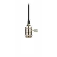 Design Classics Lighting Bare Bulb Cloth Cord Socket Mini-Pendant Light in Polished Nickel CA1-15