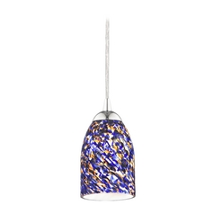 Design Classics Lighting Modern Mini-Pendant Light with Blue Glass 582-26 GL1009D