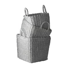 Nested Recycled Twisted Silver Foil Baskets- Set of 3