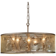 Minka Sara's Jewel Nanti Champaign Silver Pendant Light with Cylindrical Shade