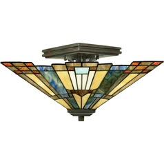 Tiffany Semi-Flushmount Light in Valiant Bronze Finish
