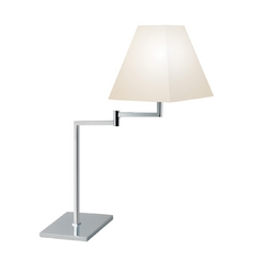 Modern Table Lamp with White Shade in Polished Chrome Finish