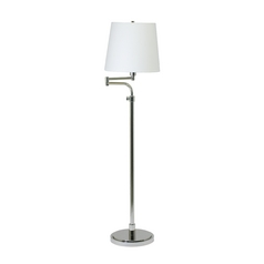 Swing Arm Lamp with White Shade in Polished Nickel Finish