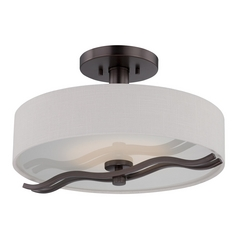 Modern LED Semi-Flushmount Light with White Shade in Hazel Bronze Finish