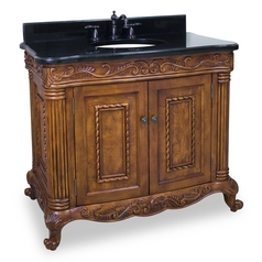 Bathroom Vanity in Golden Pecan Finish - Pre Assembled Top and Bowl