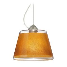 Besa Lighting Pica Satin Nickel LED Pendant Light with Empire Shade