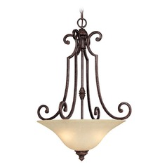 Capital Lighting Barclay Chesterfield Brown Pendant Light with Bowl / Dome Shade