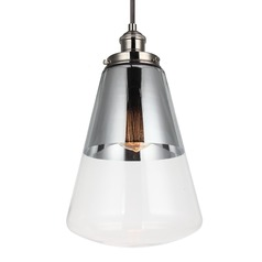 Feiss Waveform Polished Nickel Mini-Pendant Light