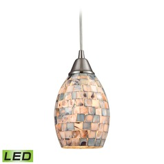Elk Lighting Capri Satin Nickel LED Mini-Pendant Light with Oval Shade