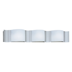 Modern Bathroom Light with White Glass in Silver Sand Finish