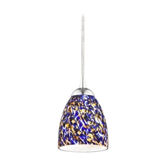 Design Classics Lighting Modern Mini-Pendant Light with Blue Glass 582-26 GL1009MB