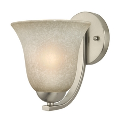 Sconce with Caramel Glass in Satin Nickel Finish