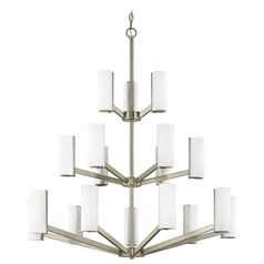Modern LED Three Tier Chandelier with 18 Lights Satin Nickel Finish