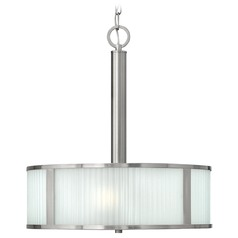 Drum Pendant Light with White Glass in Brushed Nickel Finish