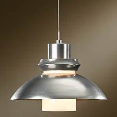 Hubbardton Forge Lighting Staccato Vintage Platinum Pendant Light with Cylindrical Shade