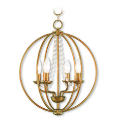 Livex Lighting Arabella Antique Gold Leaf Mini-Chandelier