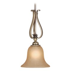 Monrovia Antique Brass Mini-Pendant Light with Bell Shade by Vaxcel Lighting