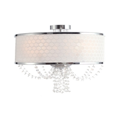 Crystal Semi-Flushmount Light with White Shade in Chrome Finish