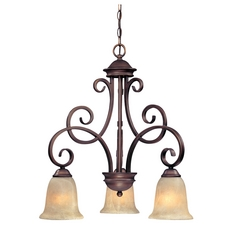 Chandelier with Amber Glass in English Bronze Finish
