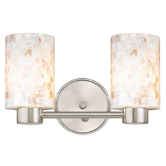 Aon Fuse Contemporary Satin Nickel Bathroom Light with Cylinder Glass