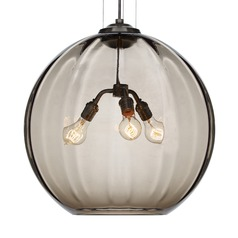 Tech Lighting World Black Pendant Light with Smoke Glass