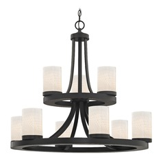 9-Light Two Tier Bronze Chandelier with White Art Glass