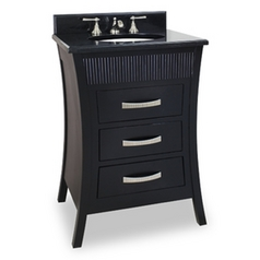 Bathroom Vanity in Black Finish - Pre Assembled Top and Bowl