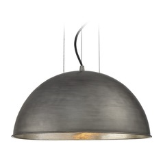 Savoy House Lighting Sommerton Rubbed Zinc / Silver Leaf Pendant Light with Bowl / Dome Shade