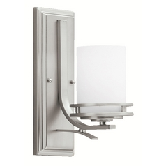 Kichler Modern Sconce Light with White Glass in Brushed Nickel Finish
