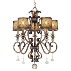 Minka Lighting Chandelier with Beige / Cream Glass in Aston Court Bronze Finish 4755-206