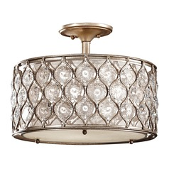 Semi-Flushmount Lights in Burnished Silver Finish