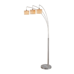 Lite Source Lighting Relaxar Polished Steel Arc Lamp with Drum Shade