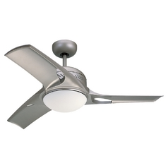 Modern Ceiling Fan with Light with White Glass in Titanium / Matte Opal Finish