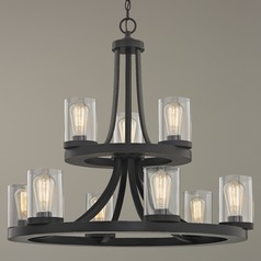 Industrial Chandelier with Clear Glass in Bronze 9-Lt 2-Tier