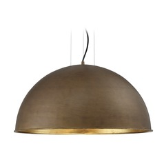 Savoy House Lighting Sommerton Rubbed Bronze / Gold Leaf Pendant Light with Bowl / Dome Shade