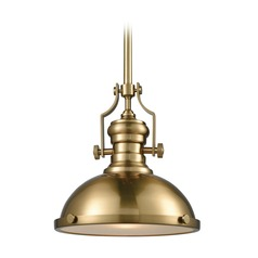 Elk Lighting Chadwick Satin Brass Pendant Light with Bowl / Dome Shade