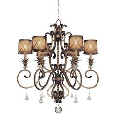Chandelier with Beige / Cream Glass in Aston Court Bronze Finish