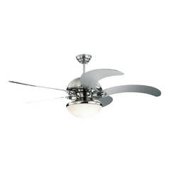 Modern Ceiling Fan with Light with White Glass in Brushed Steel / Matte Opal Finish